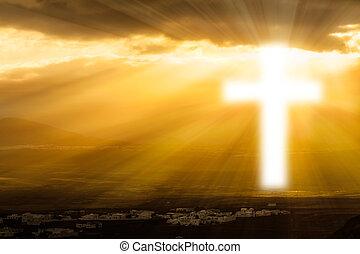 religijny, krzyż, jarzący się, w, niebo