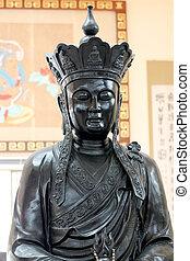 religion., 神, 彫像, 中国語, 黒