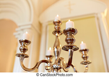 candles burning in orthodox church - religion and...