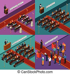Religion And People Isometric Design Concept