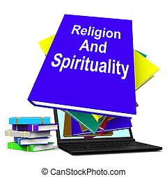 Religion And Spirituality Book Laptop Stack Shows Religious Spir