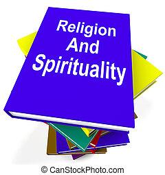 Religion And Spirituality Book Stack Showing Religious Spiritual Books