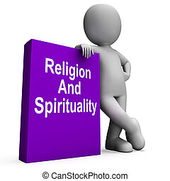 Religion And Spirituality Book With Character Showing Religious Spiritual Books