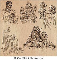 religion around the world - an hand drawn vector