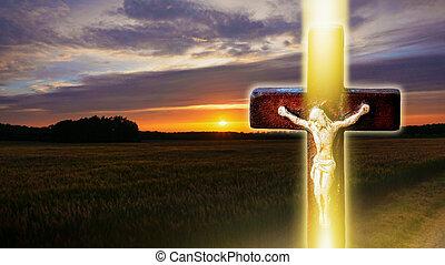 Religion background .  Paradise heaven . Light in sky .