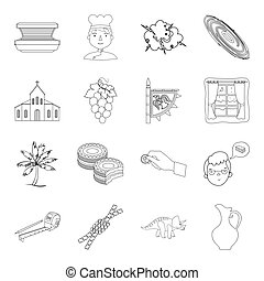 religion, beauty, travel and other web icon in outline style. finance, building, cooking icons in set collection.