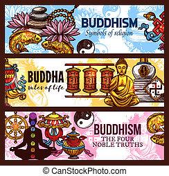 religion, bouddhisme, vecteur, croquis, symboles