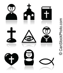 Modern black icons set with reflection - faith, religion, pope icons set