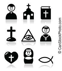 Religion, catholic church icons - Modern black icons set ...