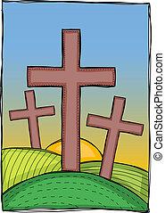Religion - christian crosses - Religion - three christian...