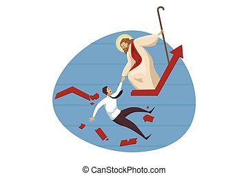 Religion, christianity, business, crisis, bankruptcy, support concept