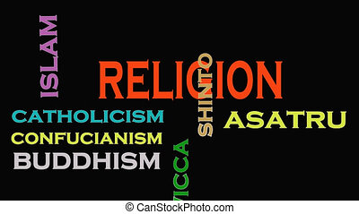 Religion concept word cloud on black background.