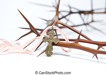 Religion concept:crown of thorns and cross