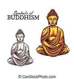 religion, croquis, bouddha, symbole, bouddhisme
