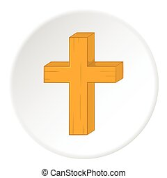 Religion cross icon, cartoon style