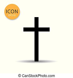 Religion cross icon flat style.