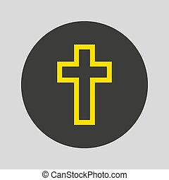 Religion cross icon on gray background. Vector illustration