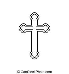Religion cross line icon
