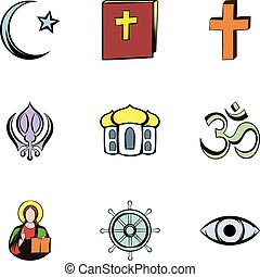Religion culture icons set, cartoon style