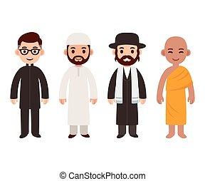 religion, différent, prêtres