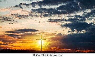 religion, forme, nature, croix, céleste, dramatique, symbole, fond