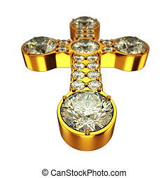 Religion: golden cross with diamonds isolated