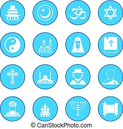 Religion icon blue - Religion simple icon blue isolated...