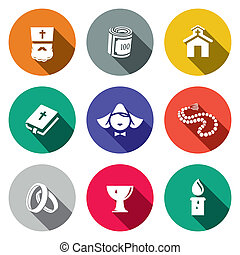 Religion icon collection - Religion icon set on a colored...