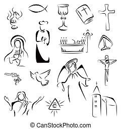 Collection of Christian Catholic religion symbols