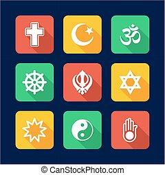 Religion Icons Flat Design
