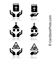 Religion icons - hands with bible, - Religious symbols with...