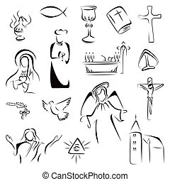 Religion icons - Collection of Christian Catholic religion...