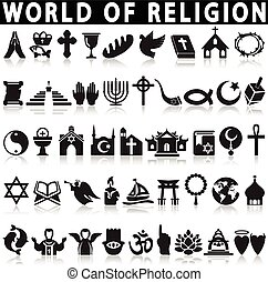 Religion Icons on a white background with a shadow