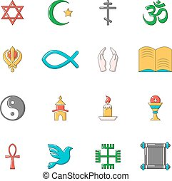 Religion icons set, cartoon style - Religion icons set....