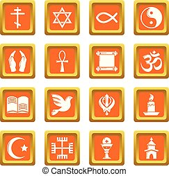 Religion icons set orange square vector