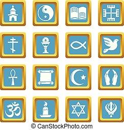 Religion icons set sapphirine square vector - Religion icons...