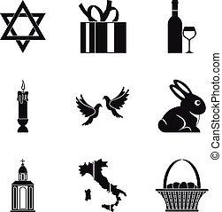 Religion icons set, simple style - Religion icons set....