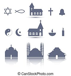 Religion icons set - Vector black religion icons set, flat ...
