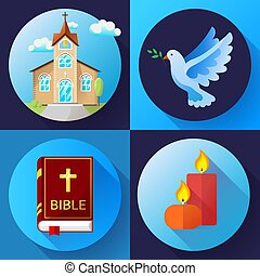 Religion Icons set vector color Flat Design Vector...