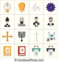 Religion icons set vector