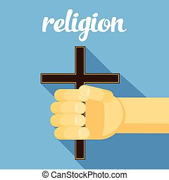 religion illustration, cross in hand, faith, vector hand with cross