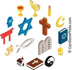 Religion isometric 3d icons set