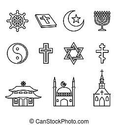 Religion line icons vector set