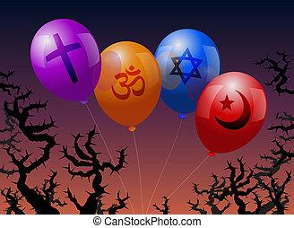 religion, luftballone