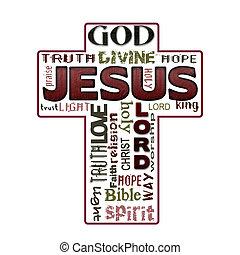 religion, mot, nuage, jésus, christianisme