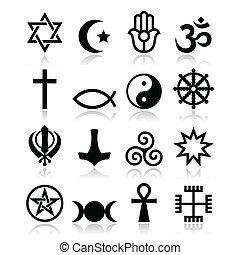 Religion of the world symbols icons