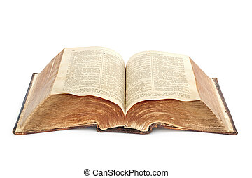 religion. old Bible - Bible. Very old open book isolated on...