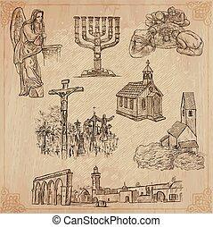 religion, pack., vecteur, world., autour de