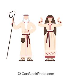 Religion pagan people in traditional period costume. Slavic or pagan religious man and woman figure. Slavic polytheism prayer. Flat vector illustration