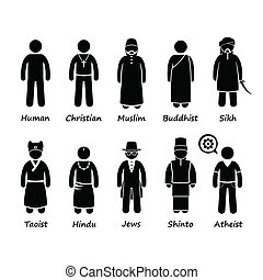 Religion People Cliparts Icons - A set of human pictogram...